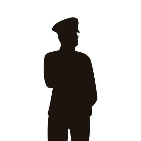 military officer turkey silhouette icon vector illustration design