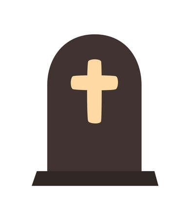 cemetery tomb graveyard halloween icon vector illustration design Çizim