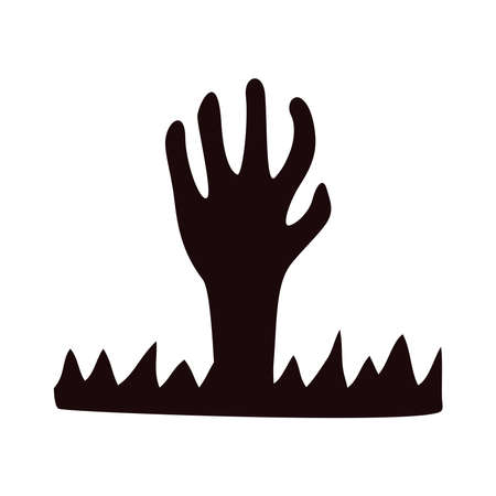 zombie death hand halloween icon vector illustration design
