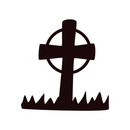 cemetery cross graveyard halloween icon vector illustration design