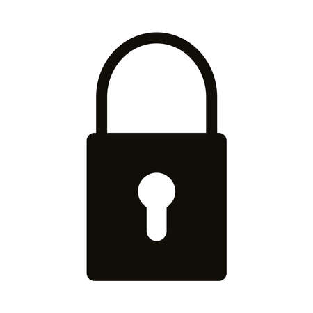 safe secure padlock silhouette style icon vector illustration design