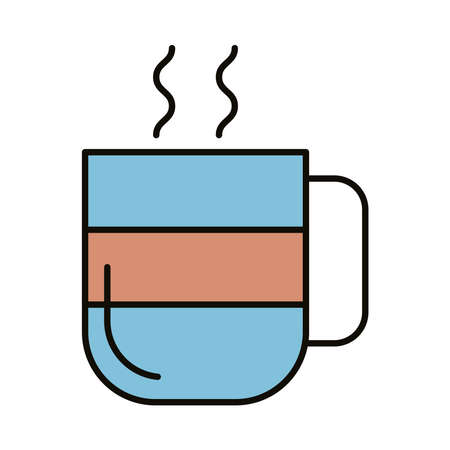 mug with hot beverage line and fill style icon vector illustration design Çizim