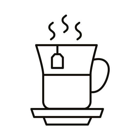 tea mug hot beverage line style icon icon vector illustration design