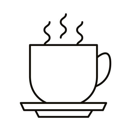 coffee cup hot beverage line style icon vector illustration design Çizim