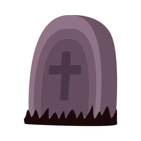 cemetery tomb graveyard halloween scene vector illustration design Çizim