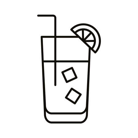 cocktail with ice and lemon drink beverage line icon vector illustration design