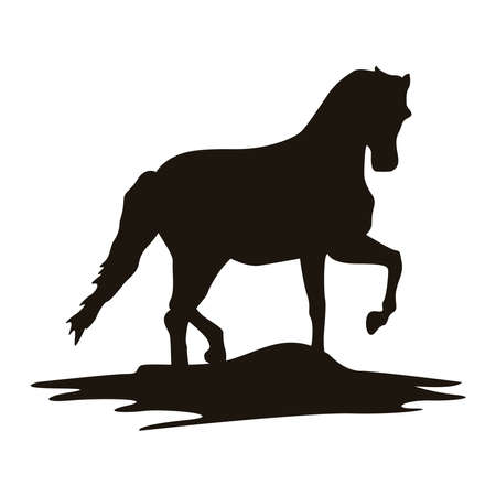 horse animal walking silhouette figure icon vector illustration design Иллюстрация