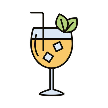 cocktail cup with ice and leafs drink beverage line and fill icon vector illustration design