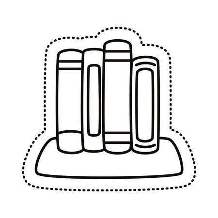books sticker line style icon vector illustration design