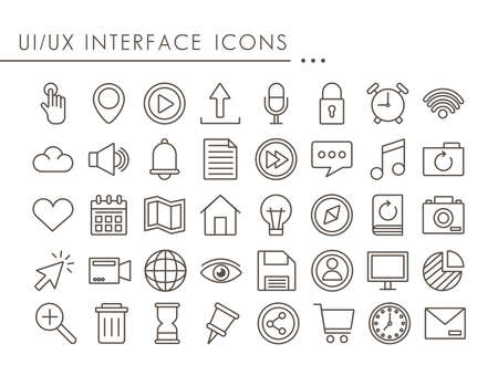 fourty interface set line style icons vector illustration design