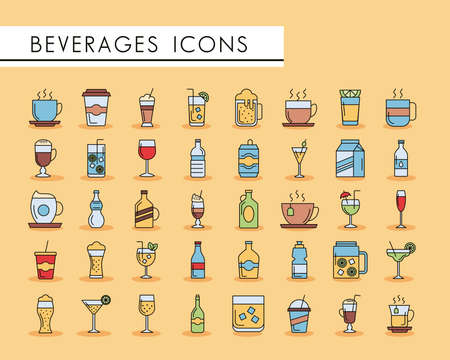 bundle of fourty beverages set icons vector illustration design Çizim