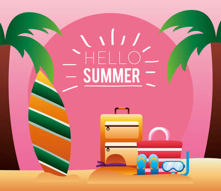 hello summer season lettering with surfboard and palms trees vector illustration design Иллюстрация