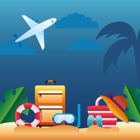 hello summer season with airplane flying and accessories on the beach vector illustration design