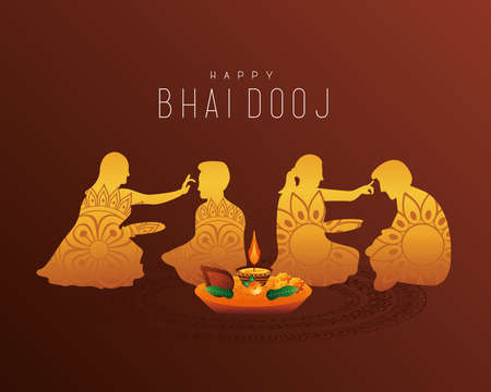 happy bhai dooj celebration card with brothers and sisters golden silhouettes vector illustration design