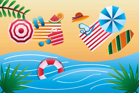 hello summer season with umbrellas and towels on the beach vector illustration design