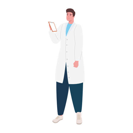 doctor with checklist worker character vector illustration design