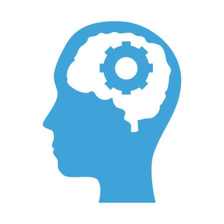 mental health profile human with brain organ and gear vector illustration design