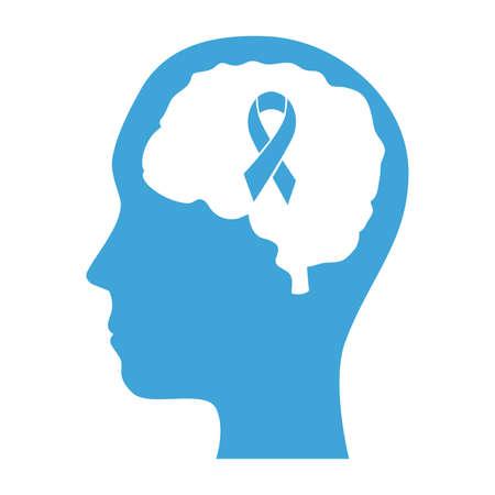 mental health profile human with brain organ and campaign ribbon vector illustration design
