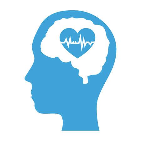 mental health profile human with brain organ and heart vector illustration design