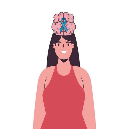 mental health brain organ in woman and campaign ribbon vector illustration design