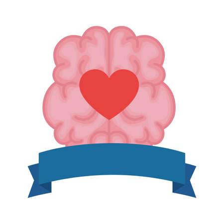 mental health brain organ with heart in ribbon frame vector illustration design