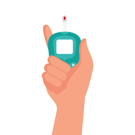 hand using glucometer test device isolated icon vector illustration design