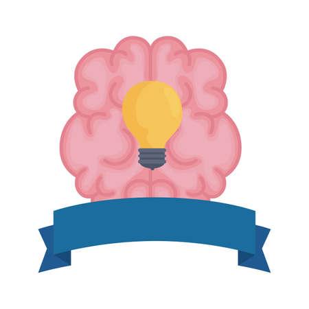 mental health brain organ with bulb in ribbon frame vector illustration design