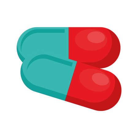 capsules medical drugs isolated icon vector illustration design Çizim