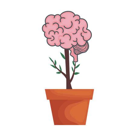 mental health brain organ in houseplant vector illustration design