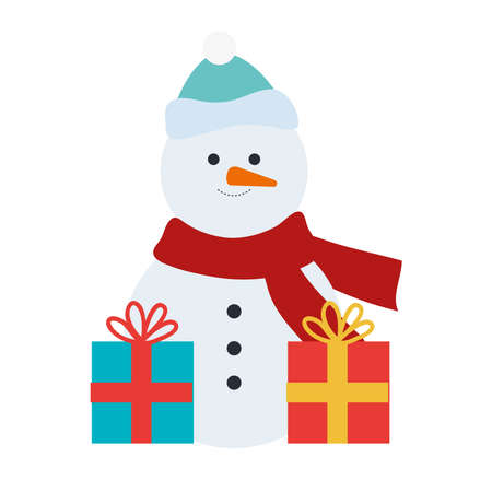 snowman christmas character with gifts presents vector illustration design Çizim