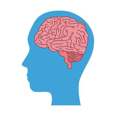 mental health profile human with brain organ vector illustration design