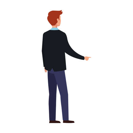 elegant business man back avatar character vector illustration design Иллюстрация