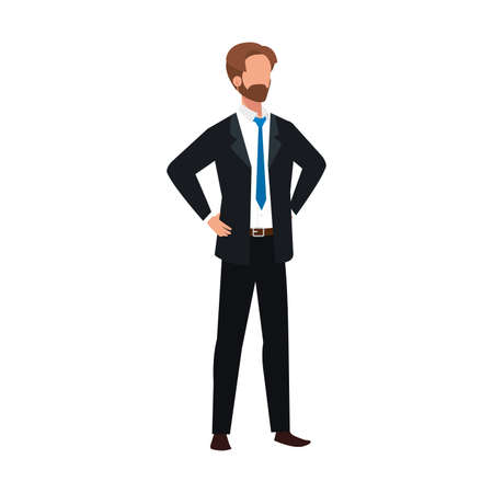 elegant business man bearded avatar character vector illustration design Иллюстрация
