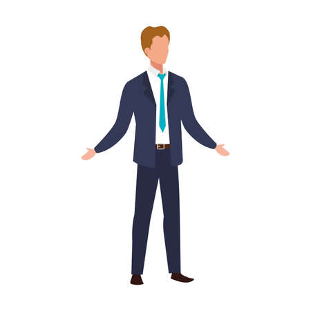 elegant business man with blue tie avatar character vector illustration design Иллюстрация