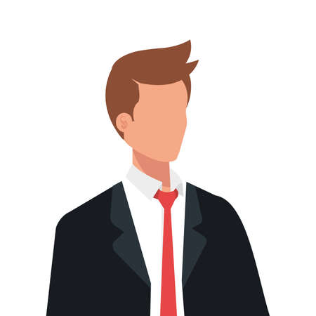 elegant business man with red tie avatar character vector illustration design