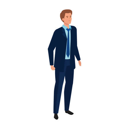 elegant businessman standing with blue tie character vector illustration design