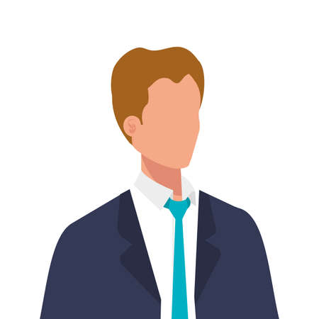 elegant business man with blue tie character vector illustration design