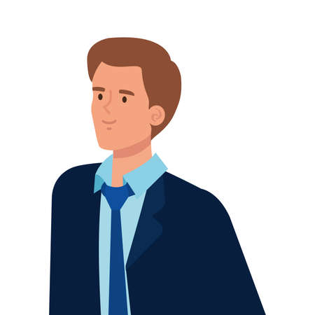 elegant businessman with blue tie avatar character vector illustration design