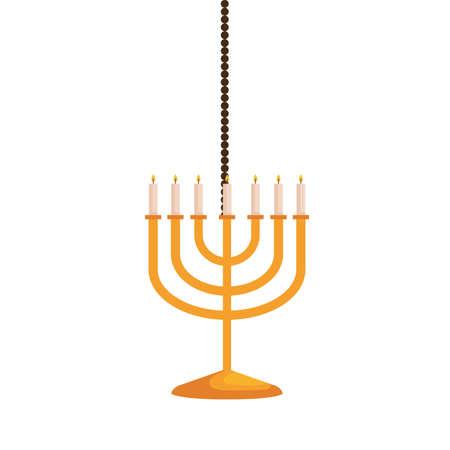 hanukkah chandelier golden hanging decoration vector illustration design