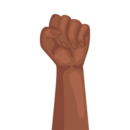 afro hand human up fist protesting vector illustration design