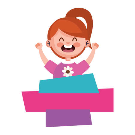 happy cute little girl redhead with banners character vector illustration design