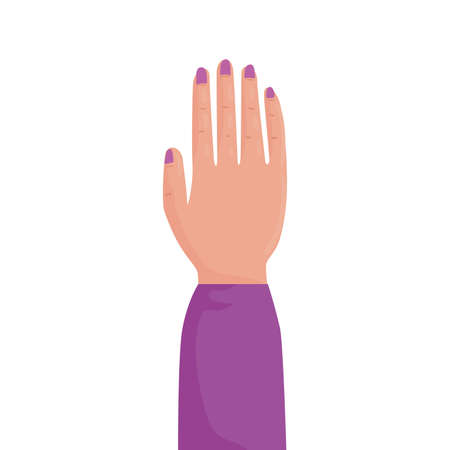 woman hand human protesting sheelve purple vector illustration design