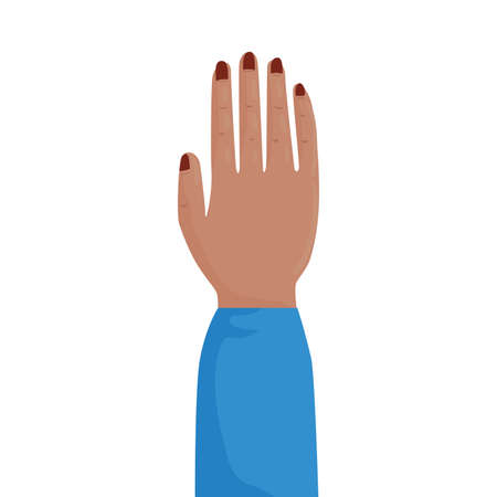 woman hand human protesting with blue sheelve vector illustration design