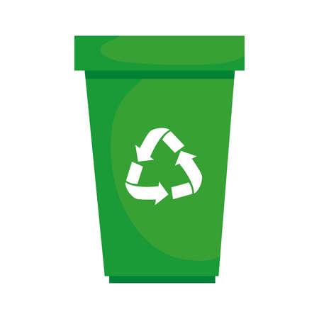 garbage waste bin with arrows recycle vector illustration design