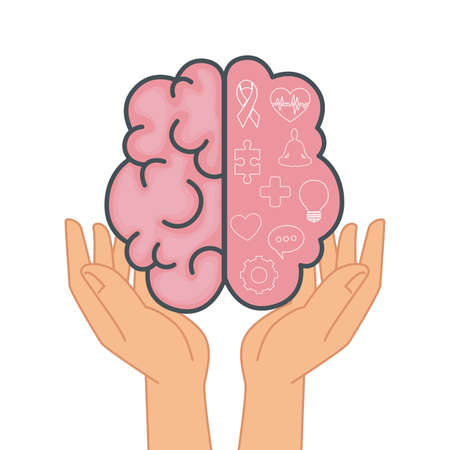 mental health hands lifting brain organ vector illustration design