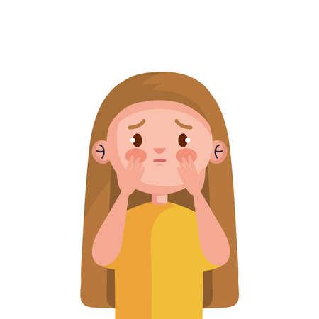 stop bullying and sad girl kid design, violence victim bully and social theme Vector illustration