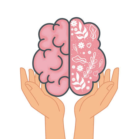 mental health hands lifting brain organ with flowers and leafs vector illustration design Ilustrace