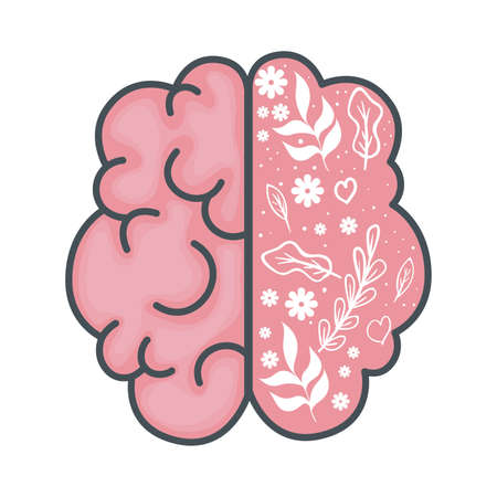 mental health brain organ with leafs and flowers vector illustration design