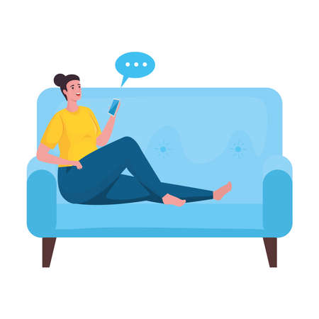 woman using smartphone for meeting online in the sofa vector illustration design