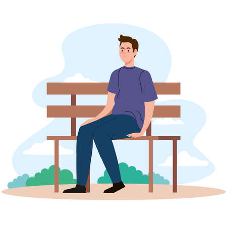 man sitting on bench at park design, Outdoor activity and season theme Vector illustration